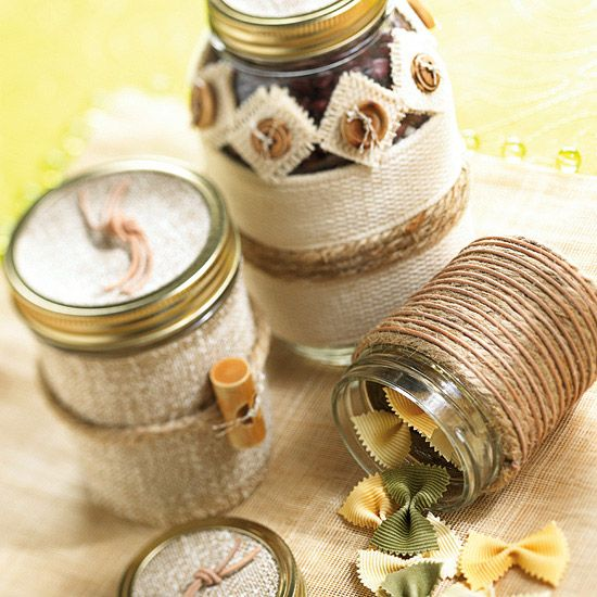 Wrapped Gift Jars  Jars make great gift containers. Discover dozens of things to wrap around them. Wrap with jute, banding, yarn, raffia, braid, ribbon, rope, embroidery floss, and torn fabric strips. Choose an adhesive that works for both glass and the decorative trim.