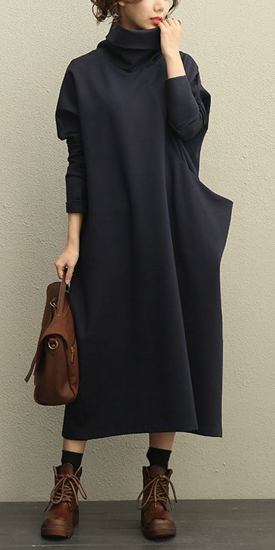 Casual High Neck Thick Maxi Dresses Women Loose Clothes 208