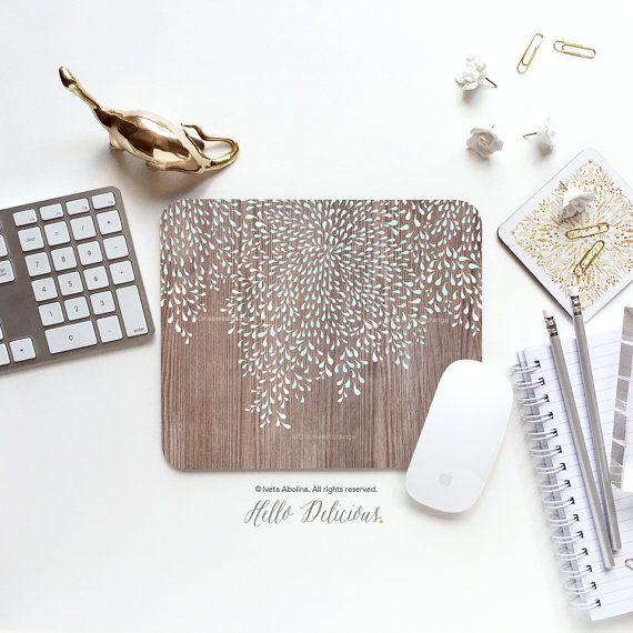 Mouse Pad Mint Mousepad Faux Wood Geometric Mouse Mat Floral Mouse Pad Office Mousemat Rectangular Mousemat Wood Print Mousepad Round T138