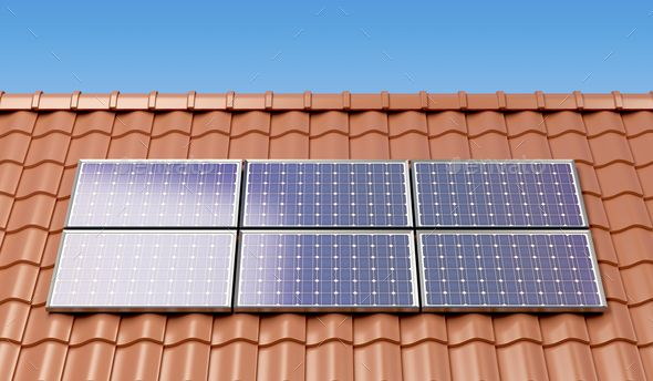 Solar Panels On The Roof Of A House Producing Electricity Solar Panel Cost Free Solar Panels Solar Panels
