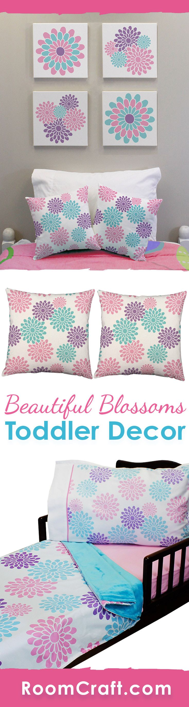 Floral and fun! Brighten up your little girls bedroom with these colorful flower bedding and room decorations. She can cuddle up with the super soft minky blanket on her coordinating fitted sheet and pillowcase. The cute throw pillows are perfect for her to relax against in a window seat or reading corner. And complete the look with some adorable wall art canvases. Our Beautiful Blossoms toddler collection makes decorating fun and easy! #roomcraft