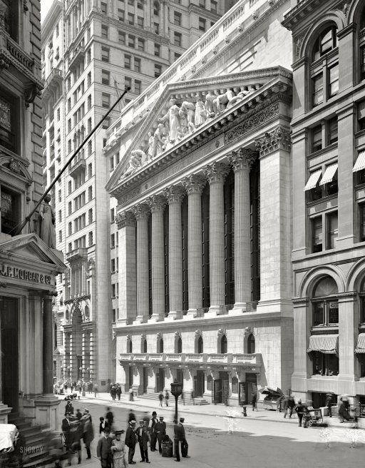 """Lower Manhattan circa 1904. """"New York Stock Exchange, Wall and Broad streets."""""""