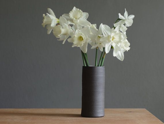 Brown Stoneware Vase Narrow Ceramic Vase By
