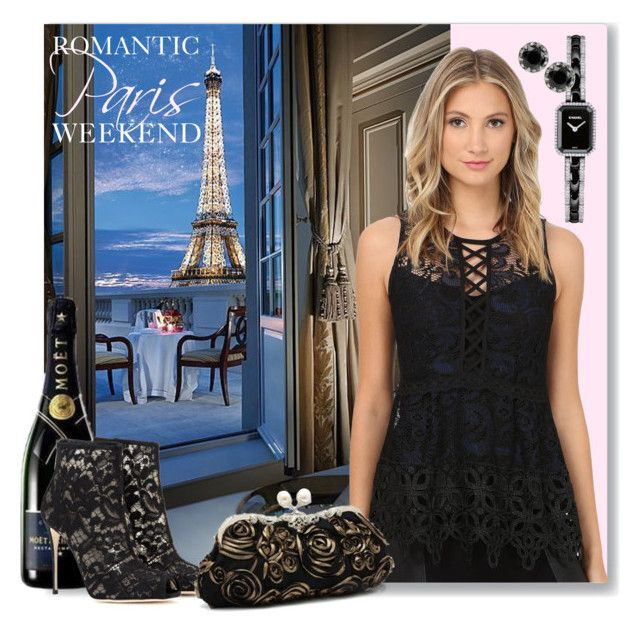 """""""Romantic Paris Weekend Break"""" by geewhizart ❤ liked on Polyvore featuring Nanette Lepore, Dolce&Gabbana, Chanel and Betsey Johnson"""