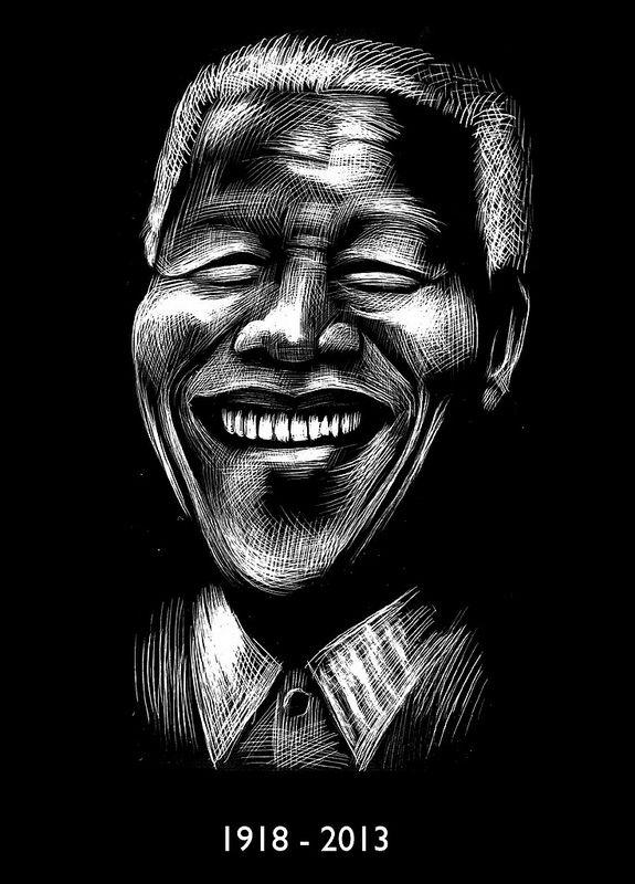 Nelson Mandela by Ricardo Cunha Lima #scratchboard