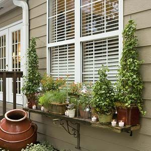 Give Your Yard a Party Makeover | After: Window Dressing | SouthernLiving.com: Ideas, Windowbox, Kitchen Window, Window Shelves, Outdoor, Windows, Window Boxes