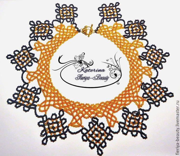 Купить Колье воротник Янтарные кружева - золотой, янтарные бусы, бисер…
