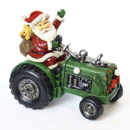 9 inch Santa on Tractor Decor with 3 Color-Changing LED Lights, Multicolor