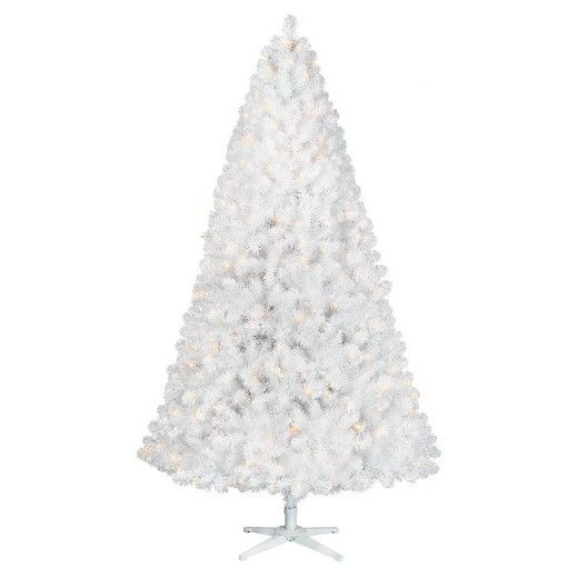 This 7' Pre-lit White Glossy Alberta Tree creates a beautiful wintery look.  Pre-lit with 400 Clear lights and glossy white PVC tips, this tree will make a dazzling backdrop for all of your holiday decor.  Preattached branches make it easy to setup and takedown. For your decorating needs it has a stackable plug in the tree top section for lit tree toppers.  This Tree Works with Rotating Tree Stand-Sold Separately.
