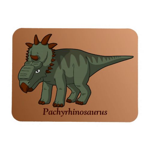 """Dinosaur Magnet: The Pachyrhinosaurus (""""thick-nosed lizard"""") is a Triceratops-like dinosaur that lived during the Cretaceous in modern day Alaska and Alberta. Unlike the Triceratops, which features three horns on its face, the Pachyrhinosaurus has large, flat, bony structures called bosses."""