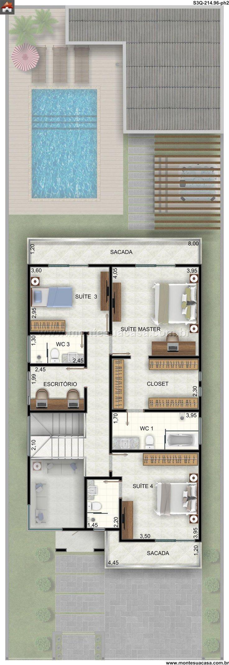 Pinterest: @claudiagabg | Casa 2 pisos 4 cuartos 1 estudio piscina / planta 2