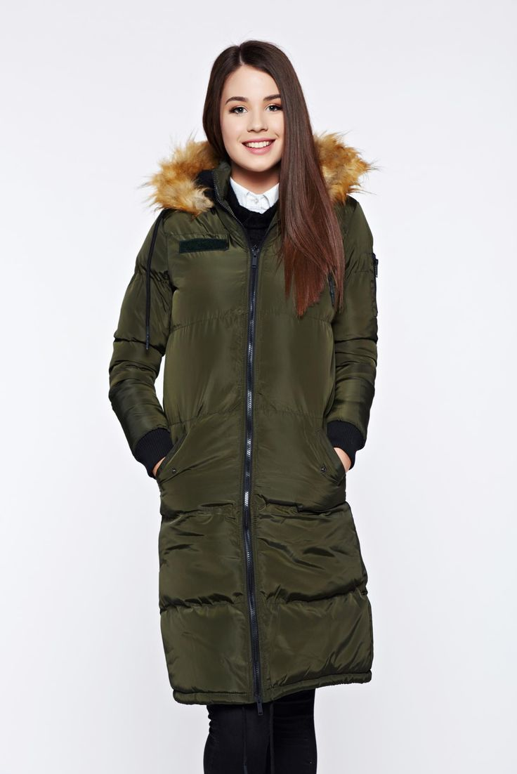 Top Secret darkgreen casual jacket with inside lining with faux fur details, women`s jacket, faux fur details, with pockets, undetachable hood, inside lining, slicker fabric