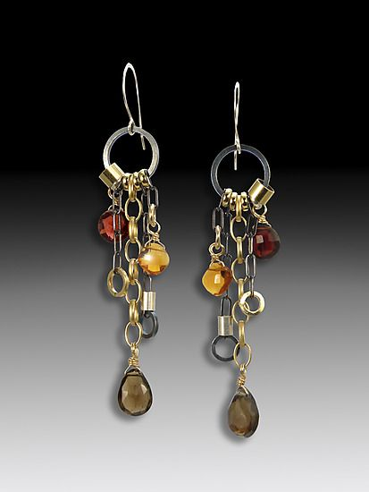 Smoky Quartz Jambalaya Earrings: Suzanne Q Evon: Gold, Silver, & Stone Earrings - Artful Home