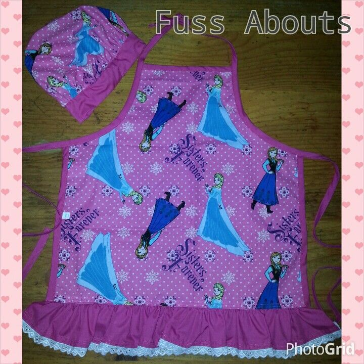 Frozen Apron with matching Chefs Hat...www.facebook.com/fussabouts