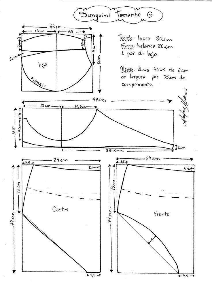 Esquema de modelagem de Biquini Retrô tipo Sunquini tamanho G.