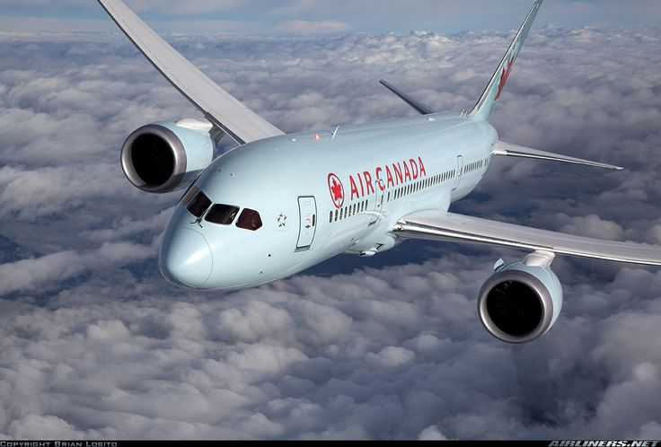 Air to air with an Air Canada 787 high over the clouds above Washington State.