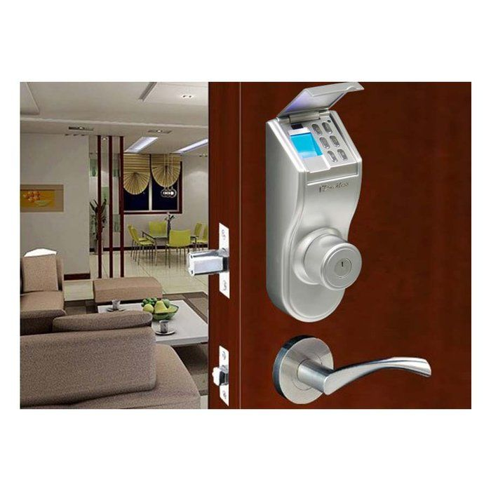 iTouchless Bio Matic Fingerprint Deadbolt Door Lock   Silver  Universal Handle