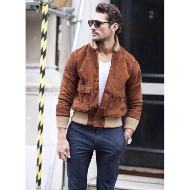 David Gandy wearing a Club Monaco jacket, Gandy For Autograph t-shirt and Marks & Spencer trousers on day 3 of #lcm