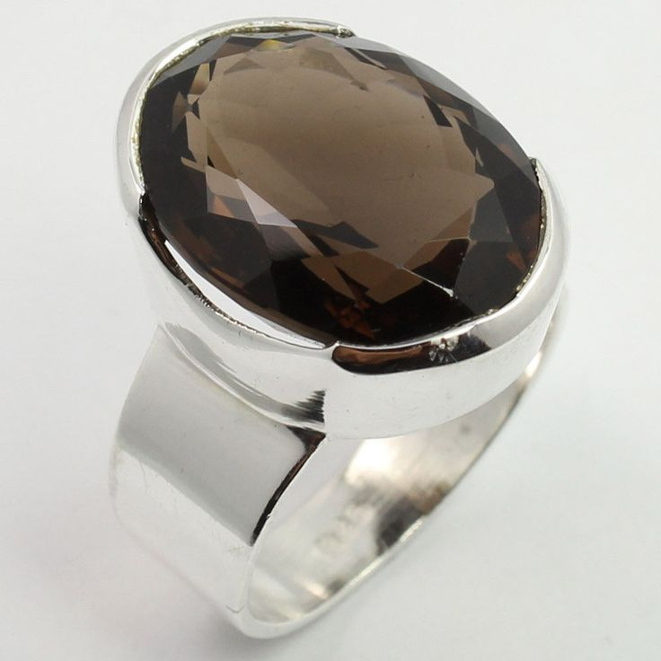 925 Sterling Silver Natural SMOKY QUARTZ Gemstone Men's Fashion Ring Size UK Q #SunriseJewellers #Fashion