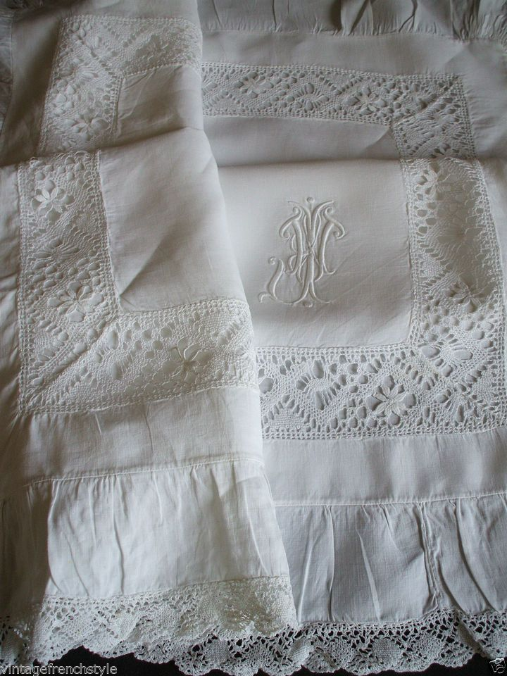 "ANTIQUE FRENCH LINEN PILLOW SHAM FIL DE LIN MONOGRAM ""J""  HAND EMBROIDERED LINEN"