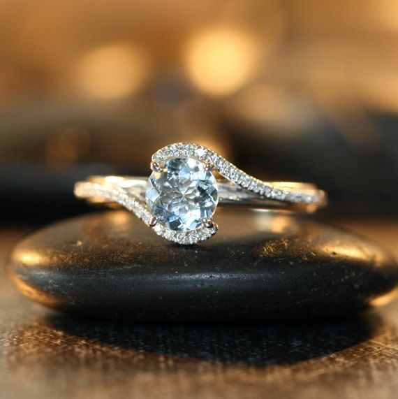 Delicate Diamond Aquamarine Engagement Ring in 14k White Gold Infinity Diamond Wedding Band 6x6mm Aquamarine Ring (Custom Made Ring ok) $685+