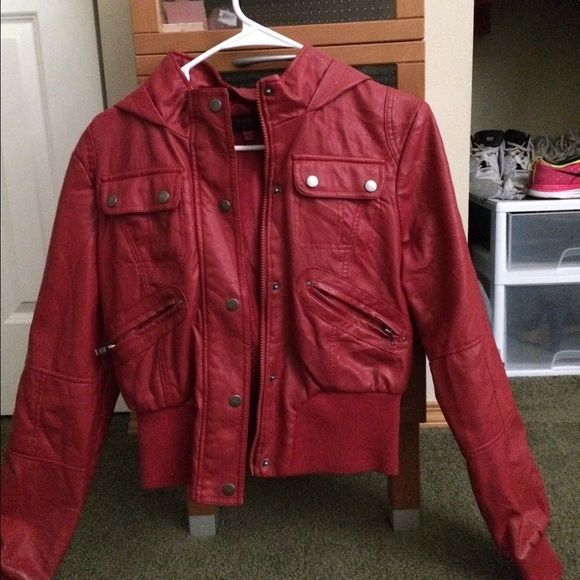 Red hooded leather jacket for sale!! Red Hooded Leather Jacket!! It falls above the waist. Only worn twice!! In mint condition!! Jackets & Coats