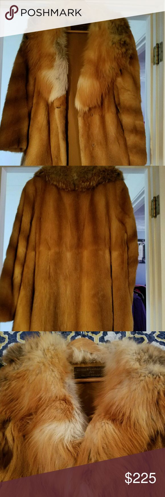 Authentic Mink Coat with Fox Collar Beautiful vintage Mink coat with full fox collar Size is Medium/Large. There is small tear right on seam, as shown in last picture can be fixed easily that's why I'm keeping price low. This was my grandmother's. Jackets & Coats