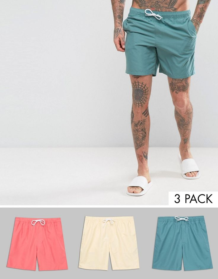 ASOS Swim Shorts 3 Pack In Pink Yellow & Blue In Mid Length SAVE - Mul