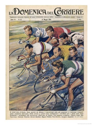 """Riders in the """"Giro d""""Italia"""" the Most Important Italian Cycle Race Giclee Print by Walter Molini"""