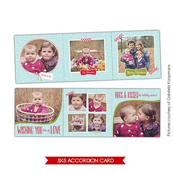 5x5 Accordion card Photoshop Template Winter Charm por birdesign