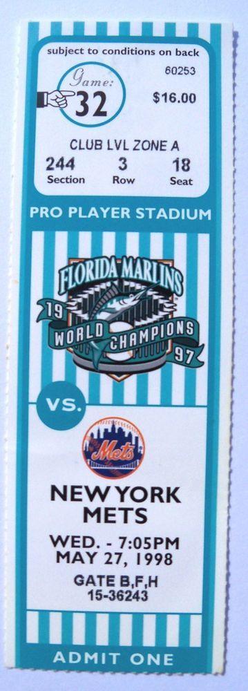 New York Mets @ Florida Marlins Baseball Ticket Stub Mint Condition May 27 1998