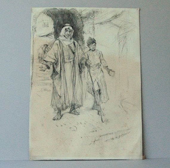 Charcoal portrait Arab man and boy Arab Male portraits Original art Arab men in head dress Borough Johnson