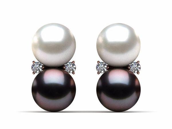 Tahitian Pearl Twin Pearl and Diamond Earring