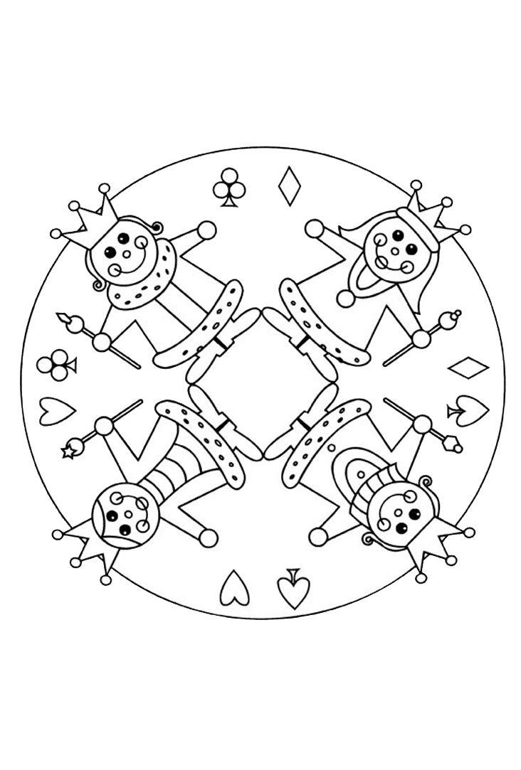 Mandala ausmalen karneval Motiv #children #print #carnival