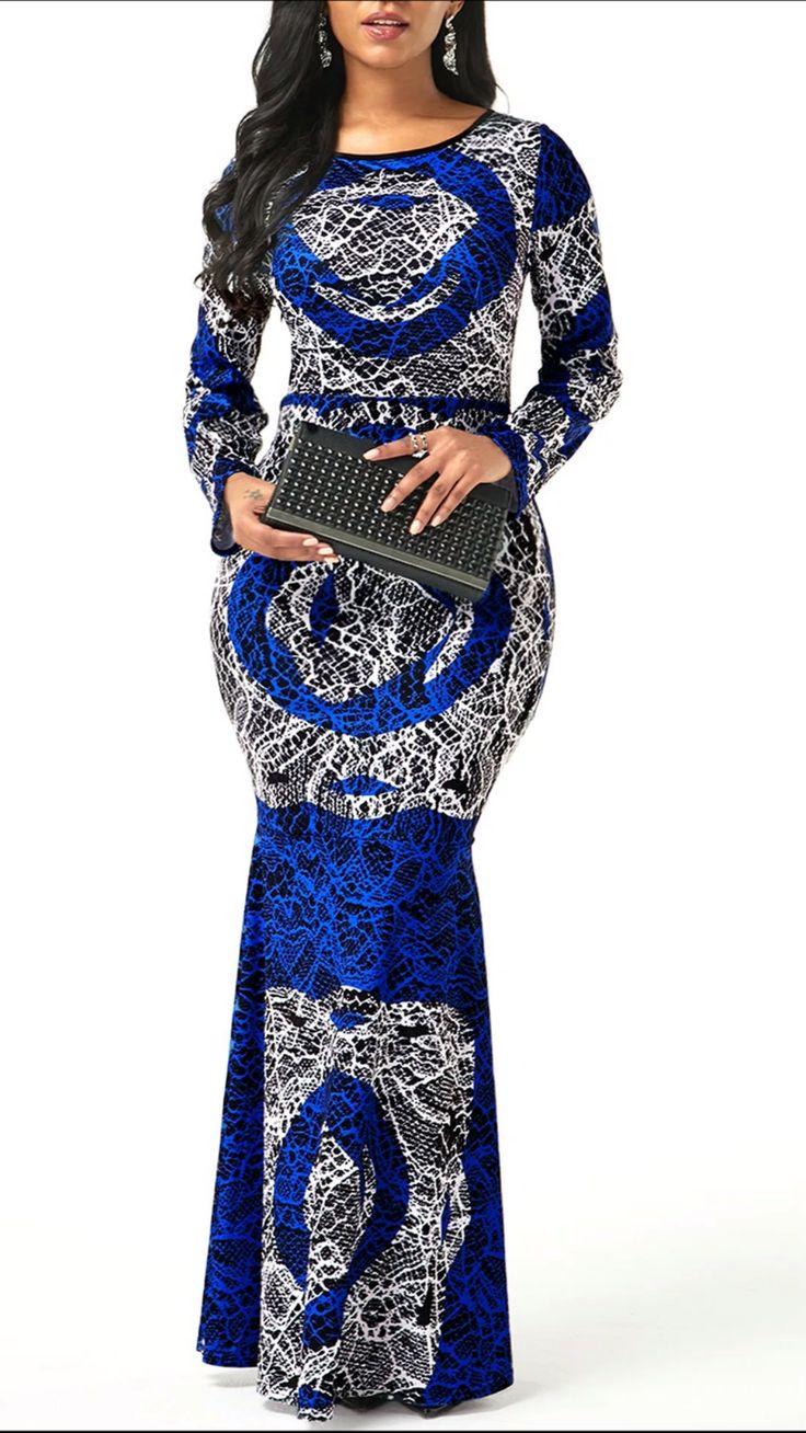 Round Neck Tribal Print Long Sleeve Dress