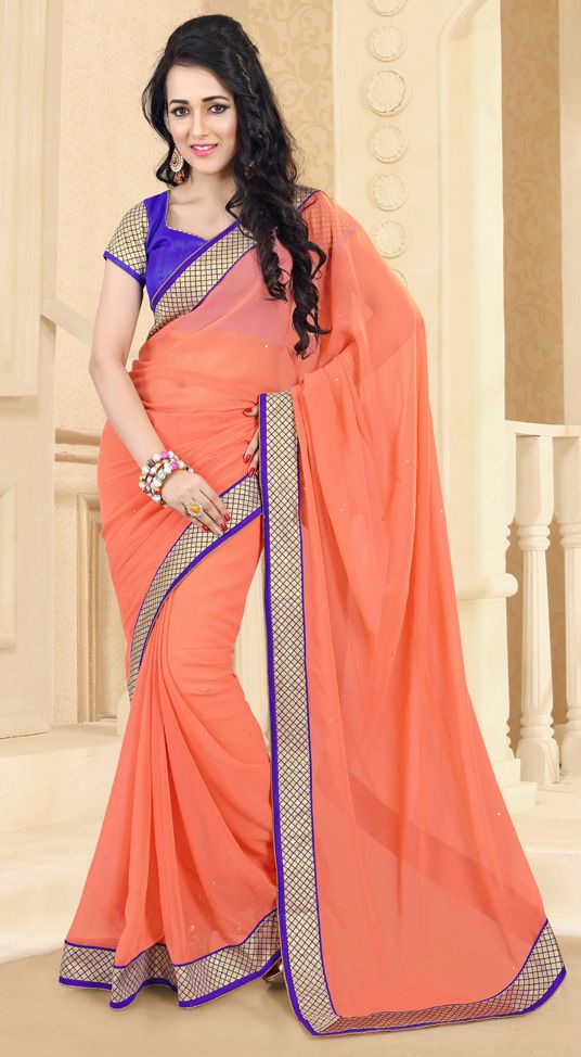 USD 29.64 Salmon Georgette Party Wear Saree 44715