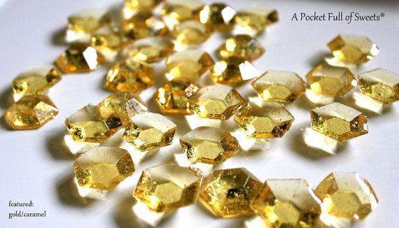 125 GOLD Sugar Jewels Barley Sugar Candy by APocketFullofSweets