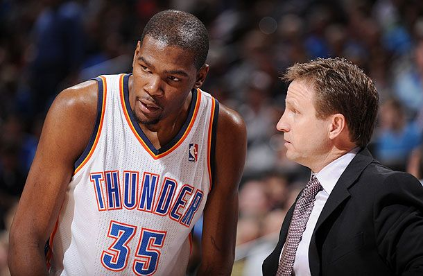 Is Kevin Durant Alienated With Oklahoma City Thunder Firing Scott Brooks? - http://movietvtechgeeks.com/is-kevin-durant-alienated-with-oklahoma-city-thunder-firing-scott-brooks/-The Oklahoma City Thunder sent head coach Scott Brooks packing not too long after the regular season ended. The Thunder finished with a 45-37 record, missing the playoffs because the New Orleans Pelicans held the tiebreaker with them.