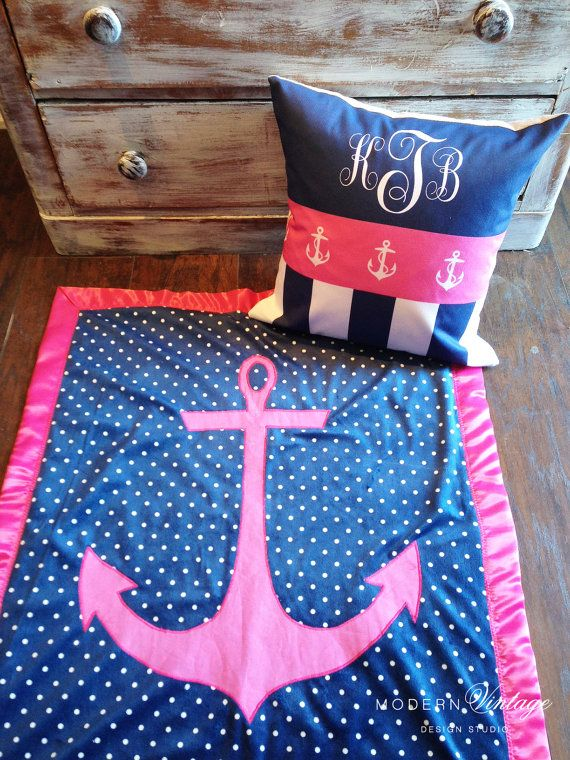 Monogram Anchor Pillow by ModernVintageCapeCod on Etsy