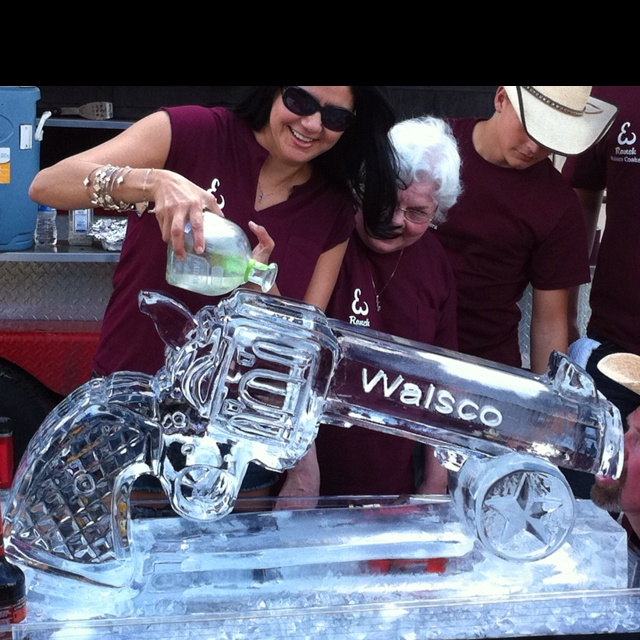 Six shooter ice luge. Granny wants in on the action! Patron tequila shot luge.