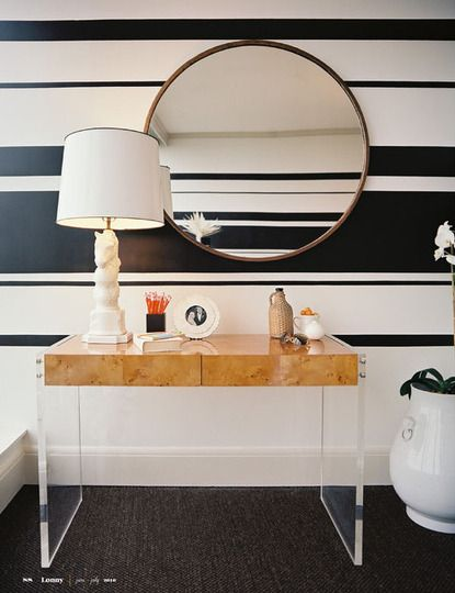 Varied black and white horizontal stripes on the wall.