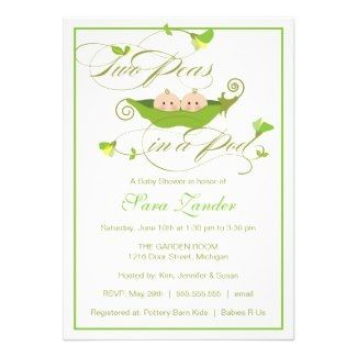 Twin Peas in a Pod Baby Shower Invitation #twins #peas