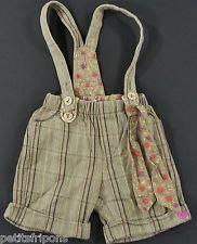 Short à bretelles toile rayée gris marron Absorba Confetti 18 mois filles