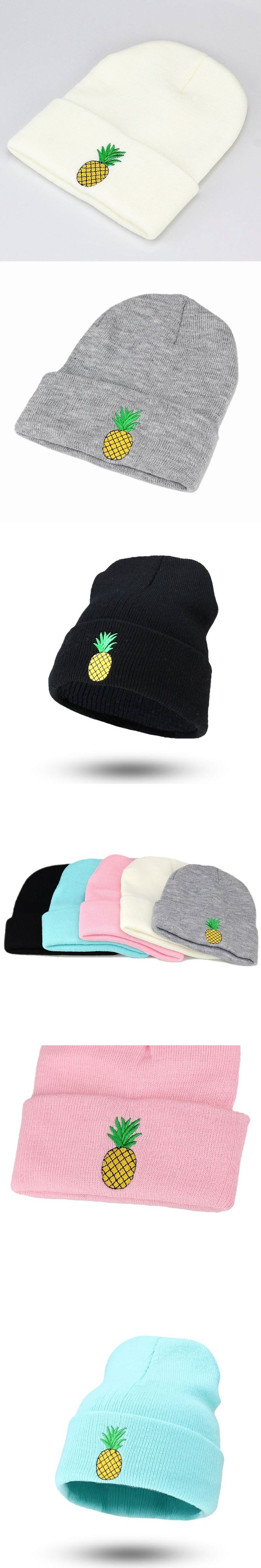2017 Brand new autumn and winter pineapple embroidery men and women hat knitted warm cap fashion winter ladies wool hat
