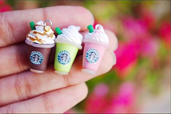 Starbucks Frappucino Charm Necklace Polymer Clay by PtCharms