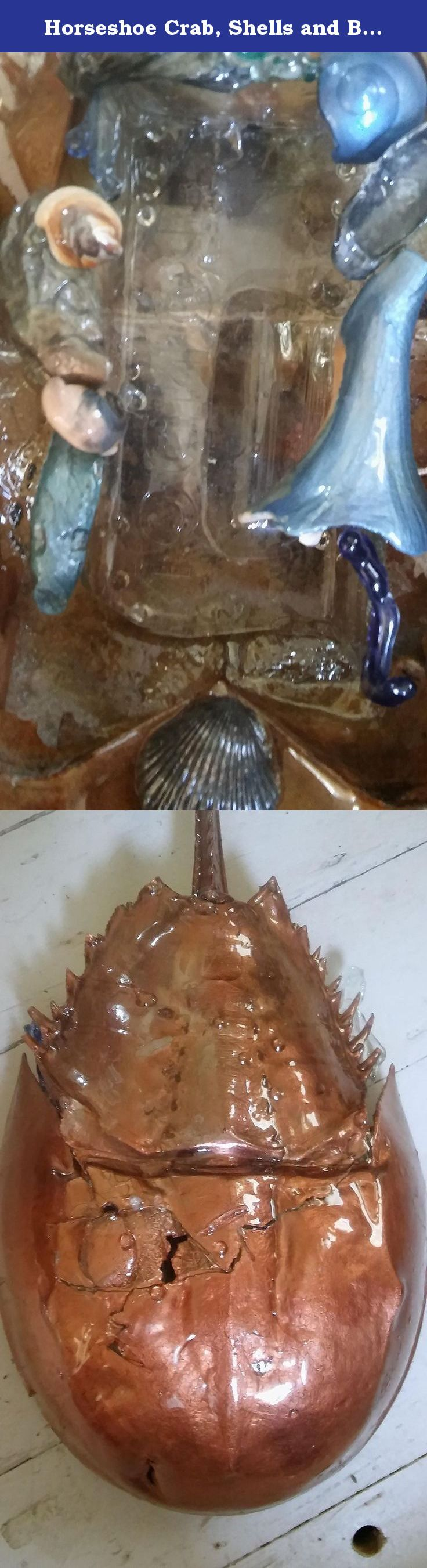 Horseshoe Crab, Shells and Bottle Candy Plate. Authentic intact horseshoe crab shell with cut bottle fitted into it decorated with painted shells and torched glass and treated with polymer for durability.