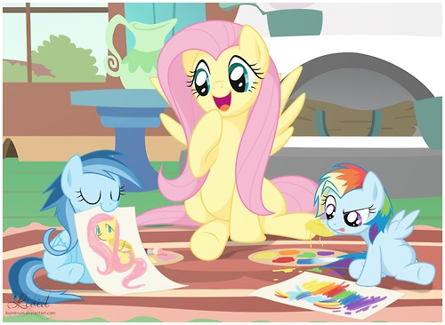 Fluttershy babysitting Soarin' and Rainbow's kids