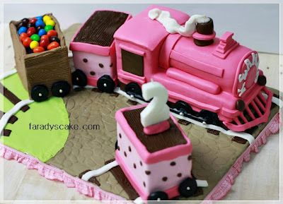 Pink Train Cake - Idea for Izzabelles birthday. She's been obsessing over trains lol