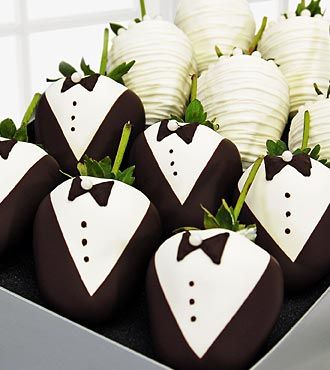 Chocolate Dip Delights™ Bride & Groom Real Chocolate Covered Strawberries - 12-piece