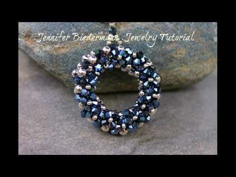 (76) Round crystal embellished pendant - YouTube